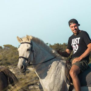 Coates riding a horse in Melides